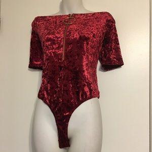 Essue wine velvet off shoulders thong bodysuit